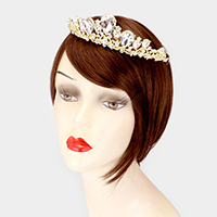 Crystal Teardrop Accented Leaf Pageant Queen Tiara