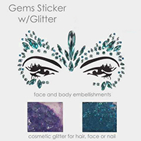 Crystal Teardrop Face Body Jewelry Gem Sticker With Glitter