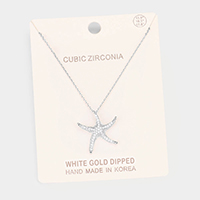 White Gold Dipped CZ Pave Starfish Pendant Necklace