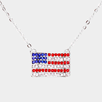 Pave Embellished American Flag Pendant Necklace