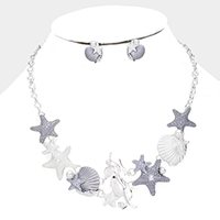Embossed Metal Shell Starfish Pearl Necklace