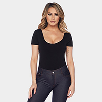 Scoop Neck Short Sleeve Seamless Bodysuit