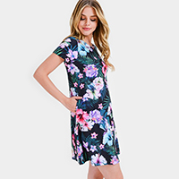 Tropical Floral Print Fit and Flare Dress