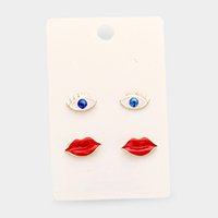 2Pairs -Enamel Eye Lips Stud Earrings