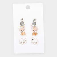 3Pairs - Enamel Cat Dog Stud Earrings
