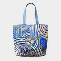 Boho Embroidery Wood Round Beaded Tote Bag