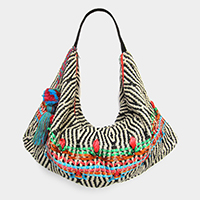 Patterned Pom Pom Tassel Shoulder / Tote Bag