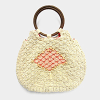 Woven Pom Pom Tote Bag With Round Wood Handle