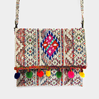 Boho Embroidery Pom Pom Beaded Crossbody Bag