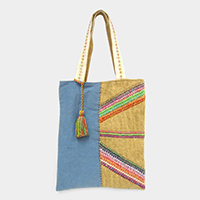Pattern Embroidery Denim Tassel Tote Bag