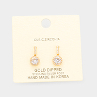 Gold Dipped Pave CZ Round Drop Earrings