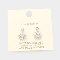 White Gold Dipped Pave CZ Round Drop Earrings