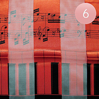 6PCS - Satin Striped Music Piano Key Pattern Print Scarf