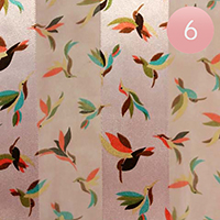 6PCS - Satin Striped Bird Pattern Print Scarf