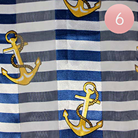 6PCS - Satin Striped Anchor Pattern Print Scarf