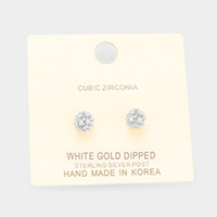 White Gold Dipped CZ Pave Ball Stud Earrings