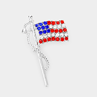 Pave Crystal American Flag Pin Brooch