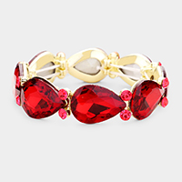 Glass Crystal Teardrop Accented Stretch Evening Bracelet