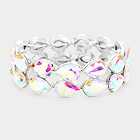 Glass Crystal Teardrop Stretch Evening Bracelet