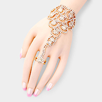 Crystal Round Rhinestone Pave Hand Chain Evening Bracelet