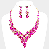 Teardrop Crystal Glass Cluster Evening Necklace