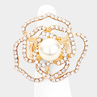 Rhinestone Pave Pearl Rose Stretch Ring