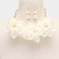 Crystal Pearl Braid Floral Multi Strand Necklace