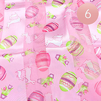 6PCS - Satin Striped Easter Egg Pattern Print Scarf