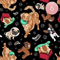 6PCS - Satin Striped Dogs Pattern Print Scarf