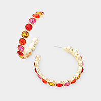 Multi Color Crystal Embellished Hoop Earrings