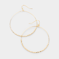 Metal Beaded Open Circle Earrings