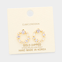 Gold Dipped CZ Cluster Round Stud Earrings