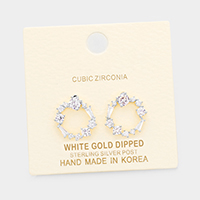 White Gold Dipped CZ Cluster Round Stud Earrings