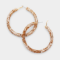 Glitter Sequin Cluster Hoop Earrings