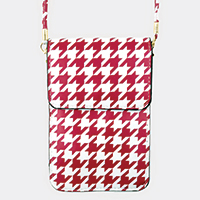 Houndstooth Pattern Touch View Cell Phone Cross Bag