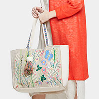 Flowers Butterfly Embroidery Tassel Pom Pom Tote Bag