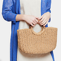 Knitted Half Moon Straw Tote Bag With Wood Handle