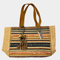 Pattern Embroidery Tassel Pom Pom Tote Bag