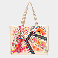 Mixed Pattern Embroidery Tassel Pom Pom Tote Bag