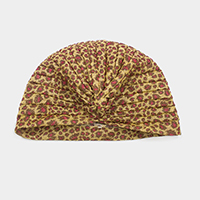Shimmery Leopard Pleated Turban Beanie Hat
