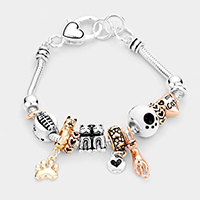 'My Cat' Metal Cat Paw Heart Charm Multi Bead Bracelet