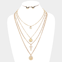 4Row Cross Coin Double Layered Detachable Chain Necklace