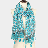 Pattern Print Scarf With Tassel