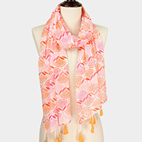 Flower Print Scarf With Tassel