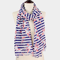Bird Stripe Print Scarf