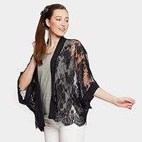 Sheer Floral Lace Kimono Cardigan