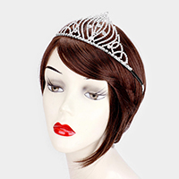 Rhinestone Pave Crystal Round Pageant Queen Tiara