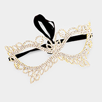 Crystal Rhinestone Pave Leaf Cat Eye Mask