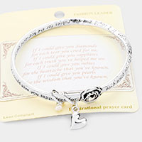 Mom Message Heart Charm Bangle Bracelet