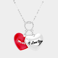 'I Love You Mama' Metal Heart Pendant Necklace